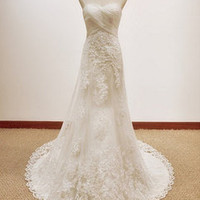 Vintage A LINE Lace Wedding Dress Bridal Gown wedding dresses Custom Size