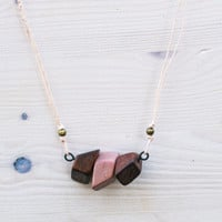 Wood necklace, Wood pendant necklace, Minimalist jewelry, Eco friendly, Handpainted jewelry, Short necklace, Brown wooden beads, Pink beads