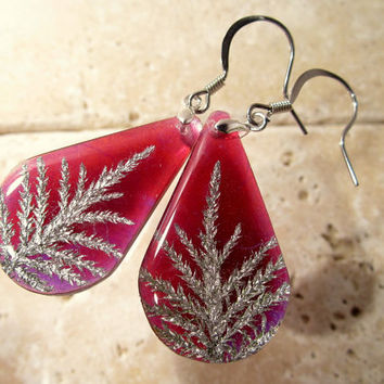 Stair Step Moss (Hylocomium splendens) aka Mountain Fern Moss Earrings, woodland jewellery, moss jewelry, bryophytes, nature, leaf, plant