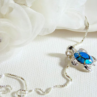 Turtle Necklace Sterling silver. Blue Opal Turtle Necklace. Hawaiian Honu Turtle Necklace Blue Opal Stone.