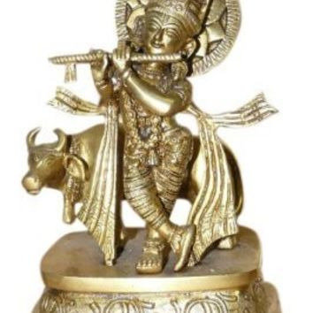Krishna Statue Playing Flute with Cow Indian Spiritual Brass Scupture Yoga Gift Idea