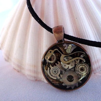 Clock and watch parts- steampunk pendant