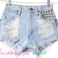 Wrangler Pale Blue DESTROYED Denim High Waist STUDDED Cut Off  Shorts XS S