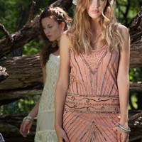 The Gatsby Beaded Peach Cocktail Dress by TRAMP