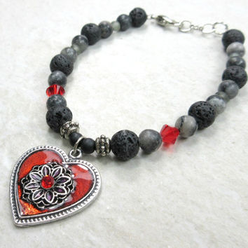 Red Heart Bracelet with Black Lava Beads, Gray Stone, and Red Crystals