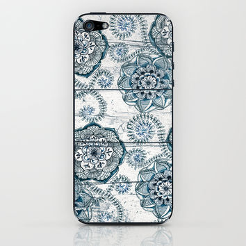 Navy Blue Floral Doodles on Wood iPhone & iPod Skin by Micklyn