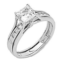 14K White Gold Princess-cut CZ Cubic Zirconia Ladies Solitaire Engagement Ring and Wedding Band 2...
