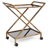 Alexander Tea Cart, Gold, Bar Carts