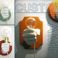 Hand Holding Bulb Wall Lamp Custom by KaraGunter on Etsy