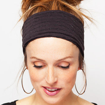 Black Headband - Stretch Cotton  - Black Hair band Black Yoga Headband Textured Cotton Headband Women Hair Accessories Gift for her