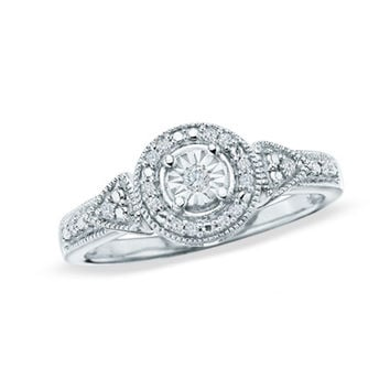 1/8 CT. T.W. Diamond Round Promise Ring in Sterling Silver - Size 7