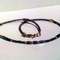 Black Rainbow w/ Black Glass Mirror Bead Necklace