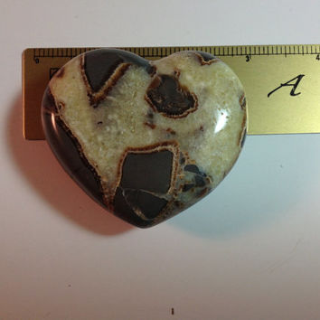 Septarian Stone Heart Carving Sculpture, Approximately 3""