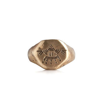 Eagle engraved Aztec signet gold ring raw texture  - men and women in solid yellow bronze or silver