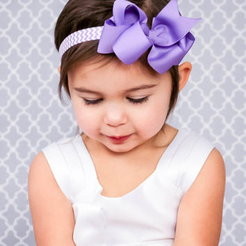 Purple Bow Headband, Purple Chevron Headband, Easter Headband, Kids Headband, Purple Chevron Bow, Meduim Boutique Bow, Stocking Stuffer