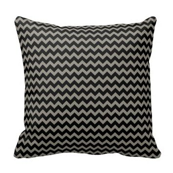 Aluminium Grey and Black zigzag Chevron Cushion