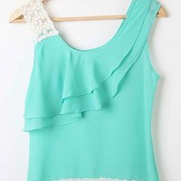 Chiffon Round Neck Blouse with Lace and Ruffle Detail