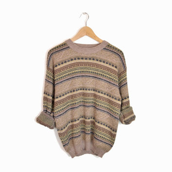 Vintage Nordic Striped Slouchy Sweater in Brown & Gray - s/m