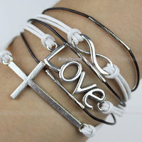Fashionable silver infinity bracelet big &amp; love bracelet cross bracelet leather rope bracelet