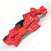 Bow Tie #Dog Collar, Pink, Orange, Yellow 142B