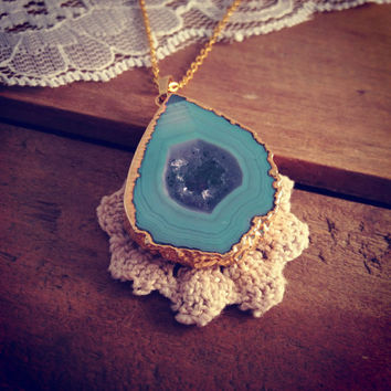 Teal Blue Geode Necklace Pendant 24K Gold-Plated Pendant