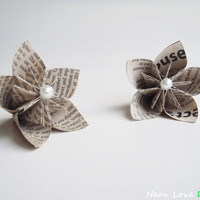 Three Newspaper/Book Page Kusudama Flowers with Pearls