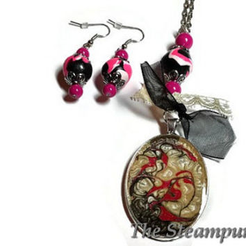 Hot Pink and Black Custom Painted Necklace and Earrings Set