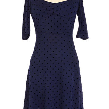 Polka Dot Pin-Up Dress in Navy - PLASTICLAND
