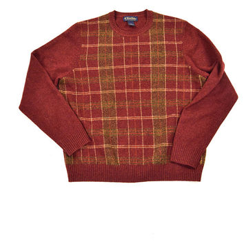 Red Plaid Christmas Sweater for Men by Brooks Brothers Size M
