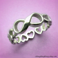 925 Infinity ring with heart band - 925 Adjustable Sterling Silver ring jewelry, girlfriend promise
