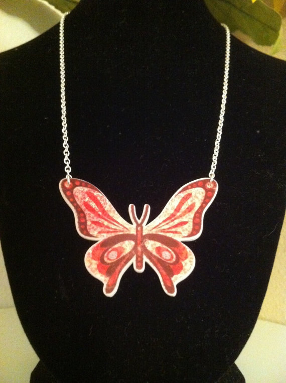 Shrink Acrylic Pink and Brown Butterfly