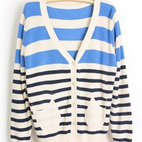Striped V Neck Blue Cardigan $44.00