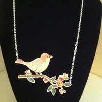 Shrink Acrylic Bird on a Branch Necklace
