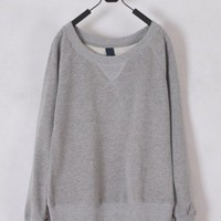 Women Spring Euro Style Scoop Long Sleeve Cotton Grey Blouse M/L@W016g $14.59 only in eFexcity.com.