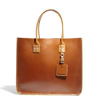 No. 235 Leather Tote, Tan - Billykirk