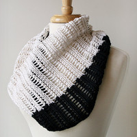 Elegant Knit Cowl - Color Blocked Pure Silk Lace Cowl Scarf - Black and White