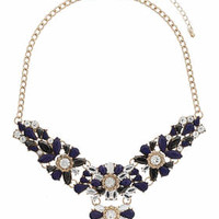 Faceted Bead Flower Collar - Blue