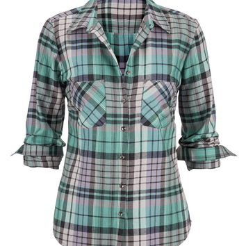 metallic button back plaid shirt