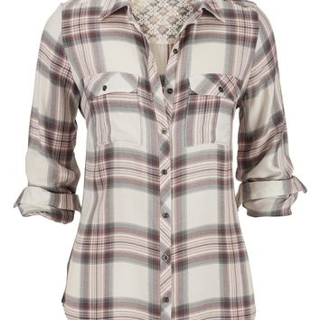 pristine relaxed plaid button down shirt