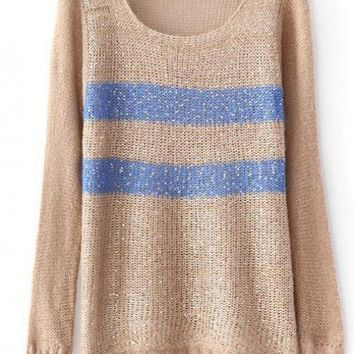 Round Neck Coffee Sweater with Sequins$38.00