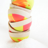 Wooden Mini Bowl Set of Two: Neon, Modern Kitchen, Summer