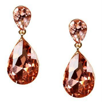 Pink Gemstone Tear Drop Earrings