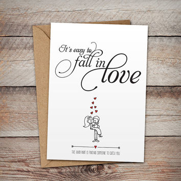 Romantic Greetings Card, It's Easy to Fall in Love