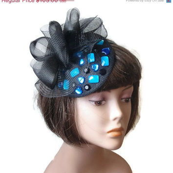 Christmas Sale Black fascinator,  Elegant Cocktail hat, Kentucky derby hats, Bridal headpiece