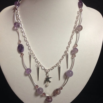 Amethyst Gemstone Purple Crystal Multi Layered Necklace;