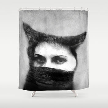 Where's Your Head At  Shower Curtain by SensualPatterns