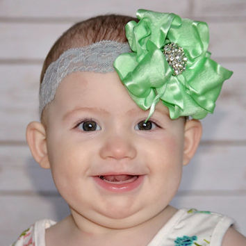 Mint Gray Headband, Soft Mint Green Bow, Mint Baby Headband, Mint Bow Headband, Lace Elastic Headband, Sea Green Headband, Mint Ruffle Bow