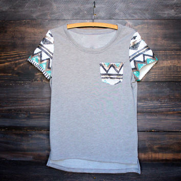 it girl aztec sequin pocket and short sleeves french terry t shirt