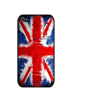 Rubber Case watercolor Great Britain UK Flag Case for iPhone 4/4S