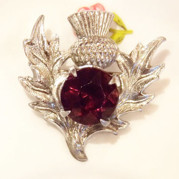 Brooch, Thistle Brooch, Scottish Thistle Brooch, Small Brooch, Purple Rhinestone Brooch, Stones, Flower, Silver - 1950s / 1960s